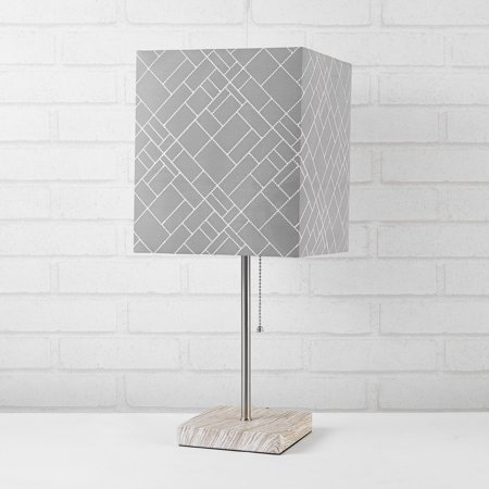 Urban Shop Fabric Grey Shade Marble Base Lamp ()