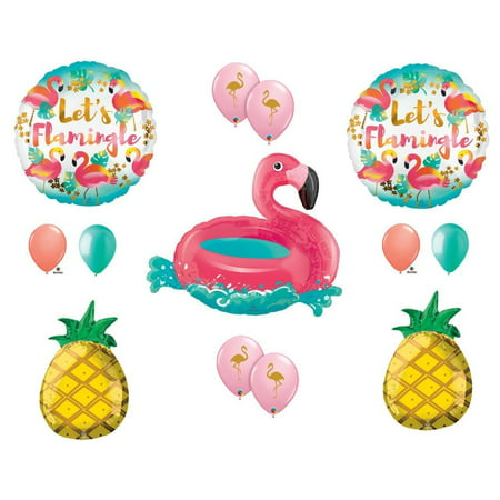 Let's Flamingle Flamingo Pineapple Pool RAFT Party Balloons Decoration Supplies - Pool Decorations