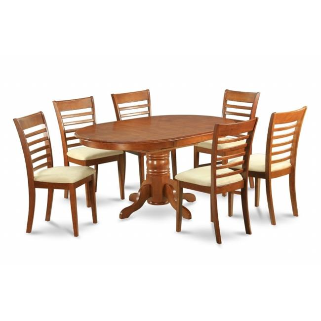 East West Furniture AVML5-SBR-C 5PC Oval Dining Set with Single Pedestal with 18 in. leaf Table and 4 Wood seat Ladder Back chairs