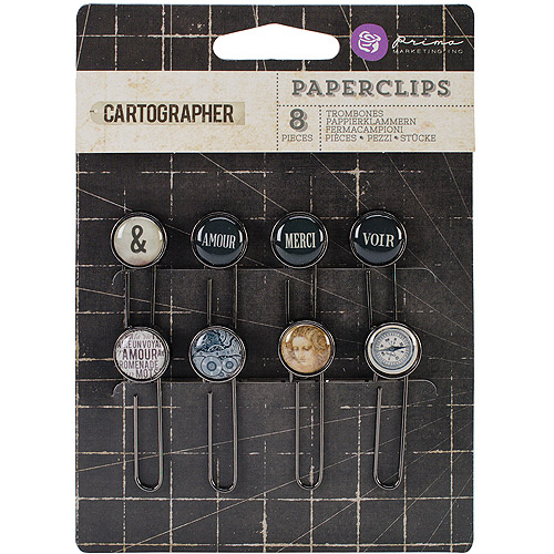 Prima Marketing Cartographer Typewriter Key Paper Clips, 2-Inch, 8-Pack Multi-Colored