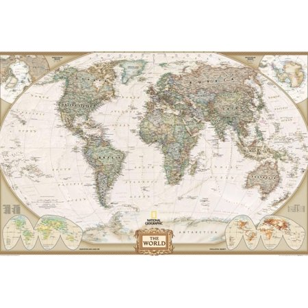 National Geographic - World Executive Map, Enlarged & Laminated Poster Neutral Classic Style Print Wall Art By National Geographic Maps