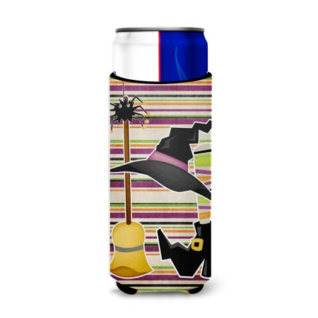 Witch Costume and Broom on Stripes Halloween Ultra Beverage Insulators for slim cans - Witches Broom For Halloween