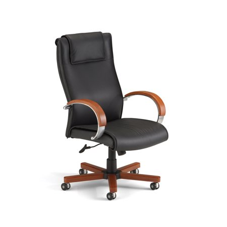 OFM Apex Series Model 560-L Leather High-Back Executive Office Chair, Black with Cherry