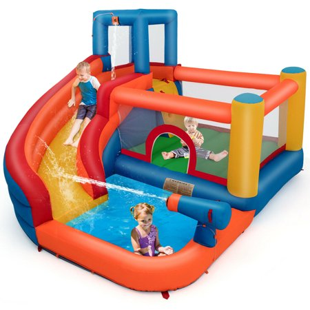 Gymax Inflatable Splash Water Bouncer Jump Castle Kids Bounce House w/ Climbing Wall - Inflatable Bouncy Horse
