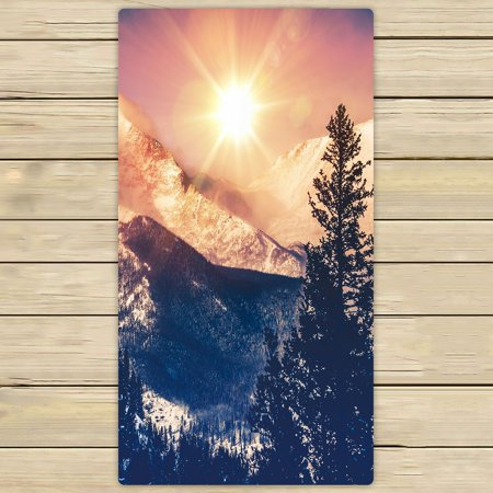 PHFZK USA Nature Towel, Rocky Mountains in Coloradao Bright Sun Snowy Hill Winter View Hand Towel Bath Bathroom Shower Towels Beach Towel 30x56 inches
