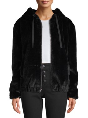 Kendall + Kylie Women's Faux-Fur Zip-Up Hooded Jacket