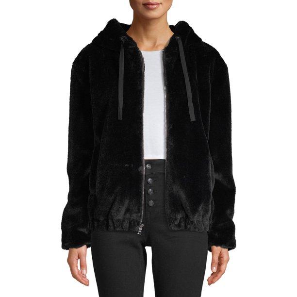 black coat women : Kendall + Kylie Women's Faux-Fur Zip-Up Hooded Jacket