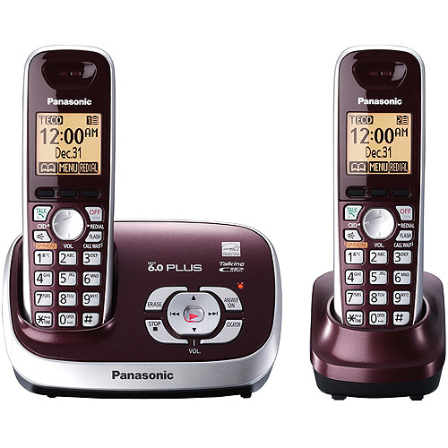 Panasonic KX-TG6572R DECT 6.0 Plus Expandable Digital Cordless Answering System with 2 Handsets, Wine Red