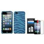 Insten Zebra(Baby Blue/Dark Blue) Diamond Case Bling Hard For iPhone 5 5s Shield