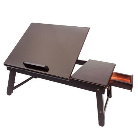 Ktaxon Lap Desk Wood Folding Tray Table Drawer Breakfast Bed Food Laptop TV Notebook