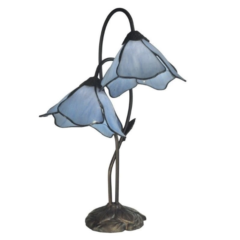 Dale Tiffany Poelking 2 Light Blue Lily Table Lamp