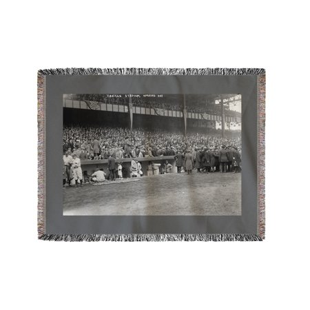 Yankee Stadium Baseball Field Opening Day Photograph (60x80 Woven Chenille Yarn - Woven Photo Blankets