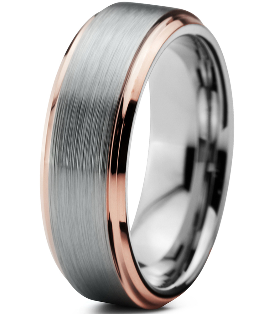 Tungsten Wedding Band Ring 6mm For Men Women Comfort Fit 18K Rose Gold  Plated Plated Beveled