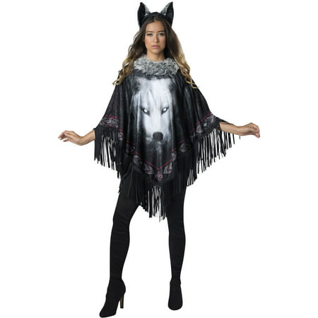 Women's Lone Wolf Poncho Halloween Costume - Womans Wolf Costume