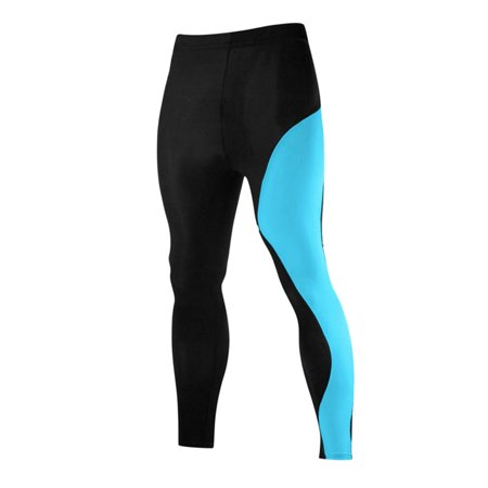 Men Compression Lightweight Athletic Sport Training Tights Turquoise M - image 5 of 5