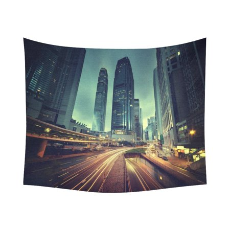 GCKG Night Street Traffic Hong Kong Cityscape Tapestry Horizontal Wall Hanging Sunset City Wall Decor Art for Living Room Bedroom Dorm Cotton Linen Decoration 51 x 60 Inches](Halloween Decorations Hong Kong)