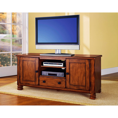 "Ameriwood Home Summit Mountain Wood Veneer TV Stand for TVs up to 55"" Wide, Medium Brown"