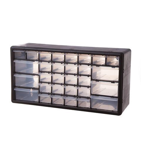 Plastic Storage Drawers: Black, 19.5 x 9.8 inches