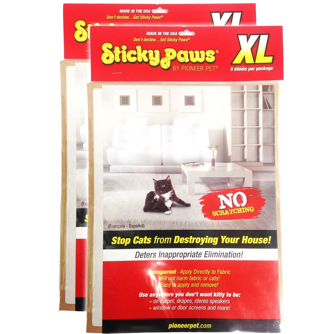 2-Packs XL Sticky Paws Furniture Sheets by Pioneer Pet 10 Sheets Total