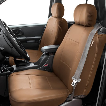 FH Group  Tan PU Leather Bucket Seat Covers with Side Zipper (Set of (Best Way To Maintain Leather Car Seats)