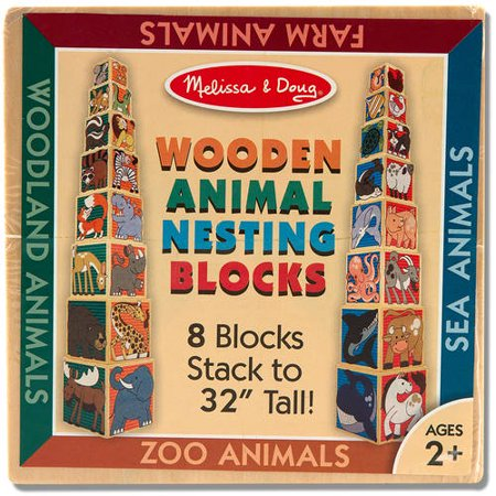 Melissa   Doug Wooden Animal Nesting Blocks   8 Blocks Stack To Almost 3 Feet Tall