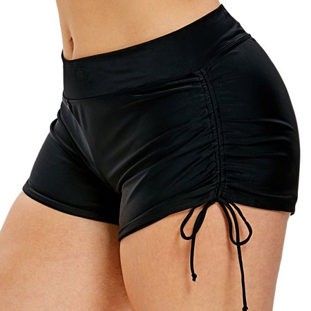 Women Plus Size Swim Shorts High Waist Swimsuit Bottoms Beach Boardshort