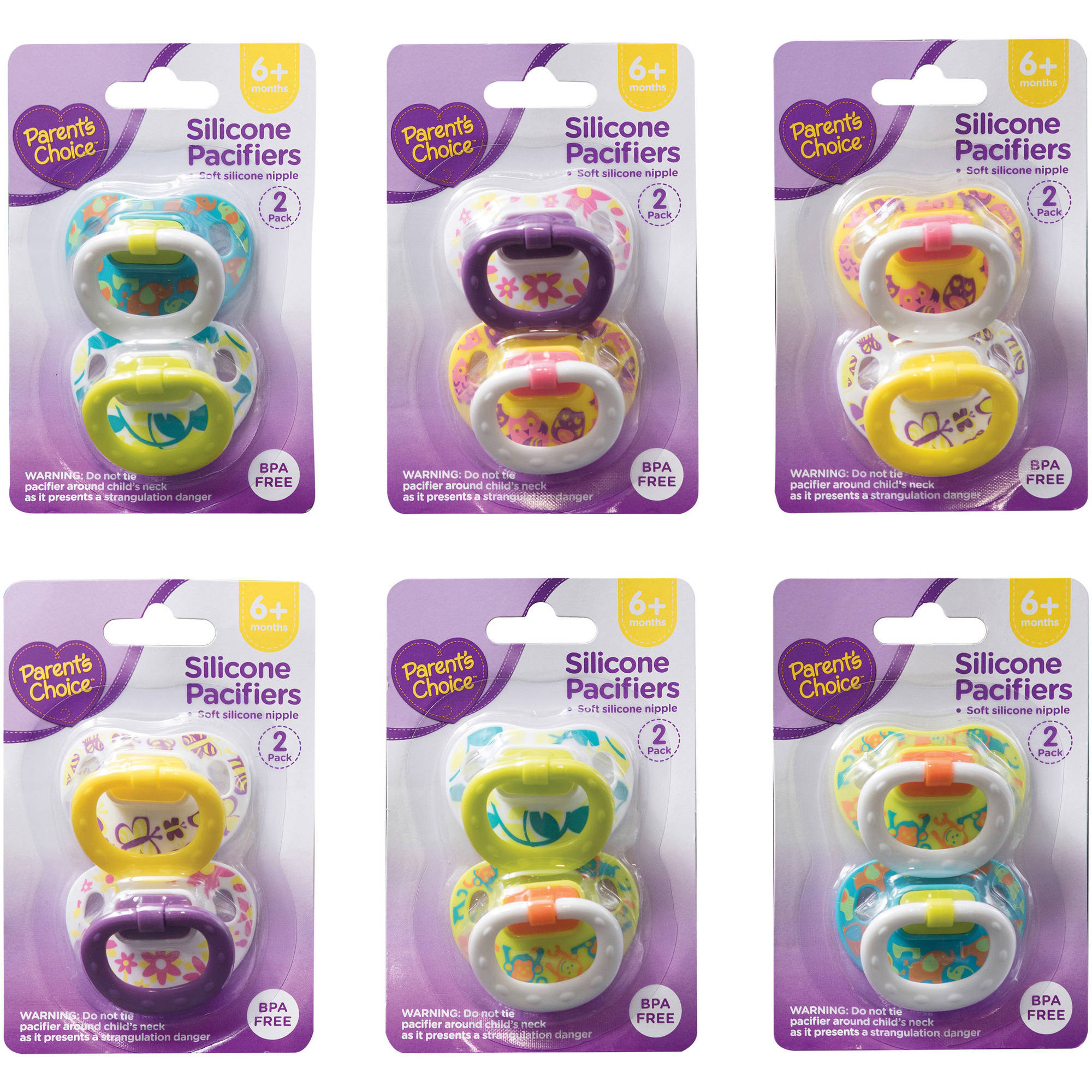 Parent's Choice Silicone Orthodontic Pacifiers, 6+ Months - 2 Counts