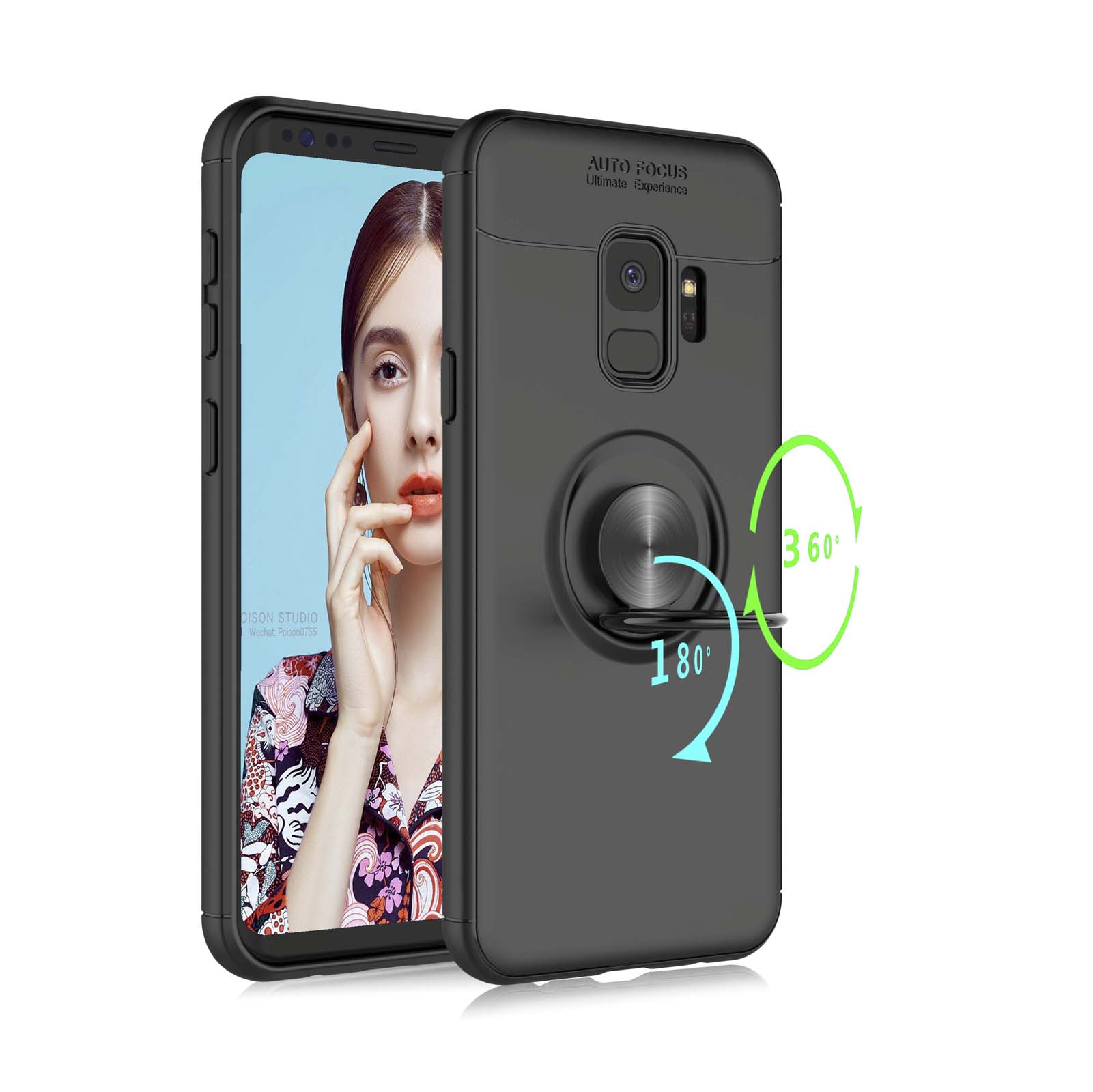 """Cases For 2018 5.8"""" Samsung Galaxy S9, Galaxy SM-G960 Cover, Njjex 360 Degree Rotation [Invisible Metal Ring Kickstand] Protective Case Compatible Magnetic Car Mount Soft TPU Slim Case Cover"""