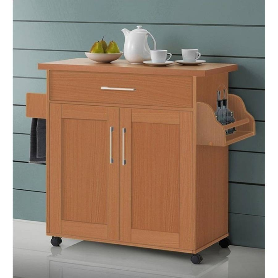 Hodedah Kitchen Cart with Spice Rack, Towel Rack & Drawer, Beech by Hodedah
