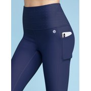 MBJ WB3004 Women's Body Contouring High Waisted Athletic Performance Capri Leggings with Pocket S BALTIC_BLUE