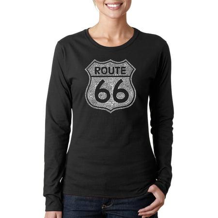 Women's CITIES ALONG THE LEGENDARY ROUTE 66 Long Sleeve T-Shirt (Womens Rough)