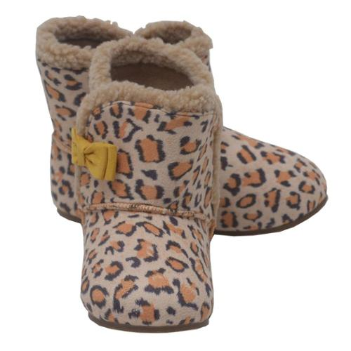 Girls Tan Brown Leopard Spot Yellow Bow Faux Fur Trim Boots 1-8 Toddler
