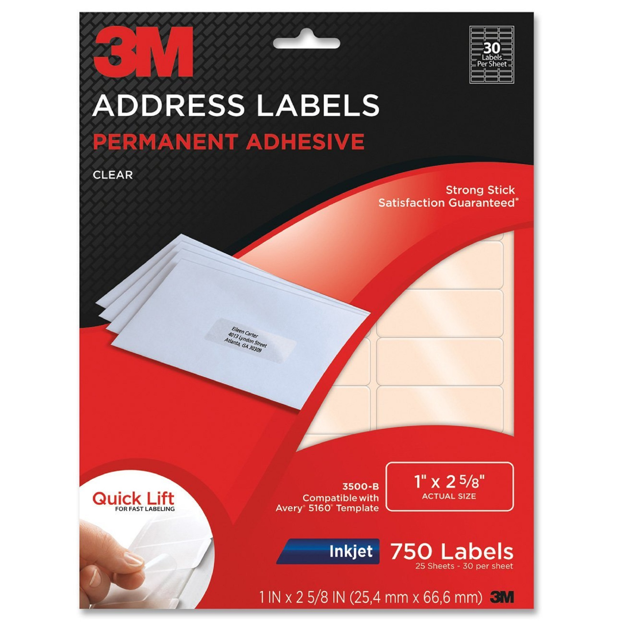 "3M Address Labels 1""x 2.62"" - 750 Clear Labels (3500-B)"