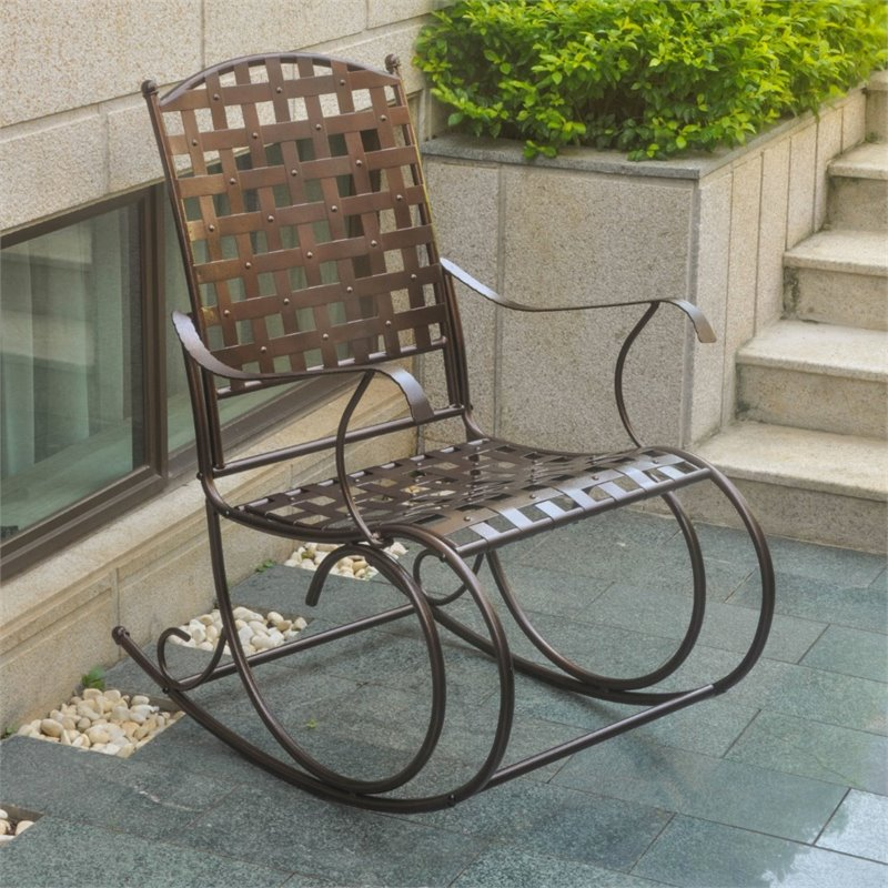 Pemberly Row Patio Metal Rocker in Bronze