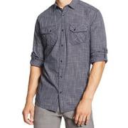 INC NEW Navy Blue White Grid Print Mens Size Large L Button-Front Shirt