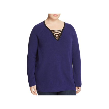 Nic + Zoe A Little Edge Women's Plus Size Lace-Up V-Neck Sweater Blue Size 1X Lace Silk Sweater