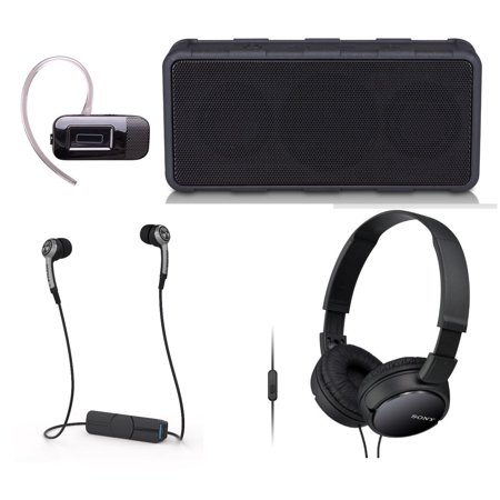Tech & Gadget Lovers Electronics Gift Box Portable Audio Bundle Holiday Christmas - Wireless Speaker, Bluetooth Earbuds, Sonyy Headphones for iPhone & Android + Headset (New Open Box) ()