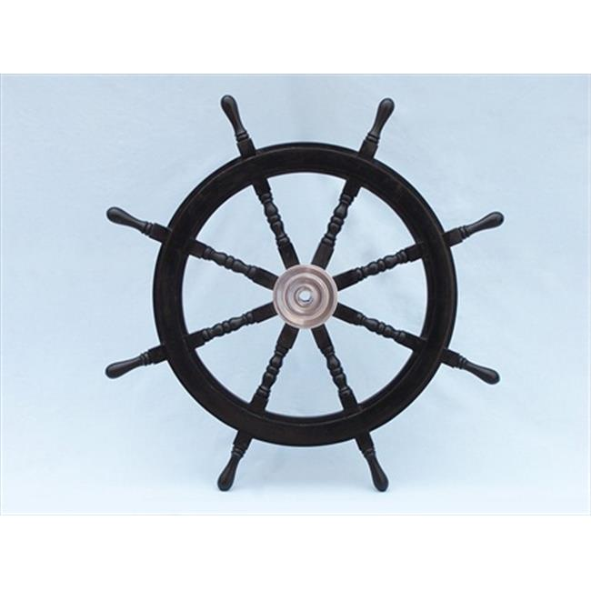 Handcrafted Model Ships SW36CH-Black Deluxe Class Wood and Chrome Pirate Ship Steering Wheel 36 in. Decorative Accent