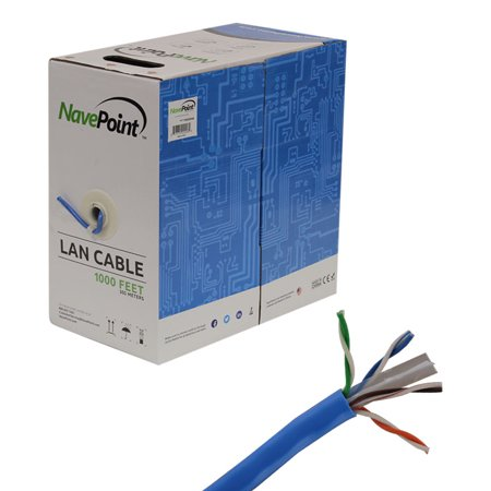 NavePoint Cat6 (CCA), 1000ft, Blue, Solid Bulk Ethernet Cable, 550MHz, 23AWG 4 Pair, Unshielded Twisted Pair (UTP)