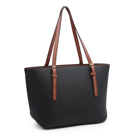 Handbags for Women, POPPY Laptop Tote Shoulder Bags PU Leather Top Handle Satchel Purse Lightweight Work Tote Bag for Women, Black