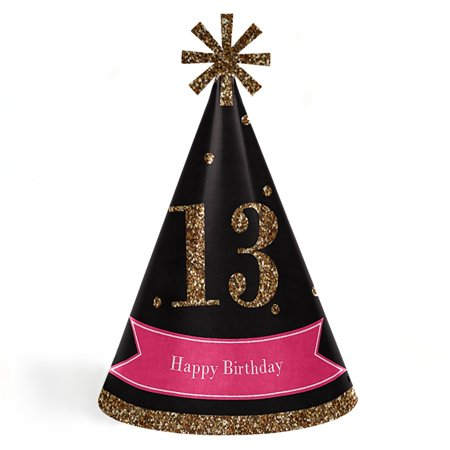 Chic 13th Birthday - Pink, Black and Gold - Cone Happy Birthday Party Hats - Set of 8 (Adult Size) - Happy Birthday Adults