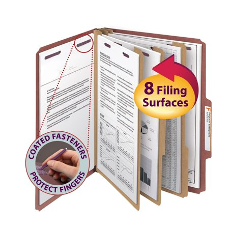 Divider 3' Expansion 8 Fastener (Smead Pressboard Classification File Folder with SafeSHIELD® Fasteners, 3 Dividers, 3