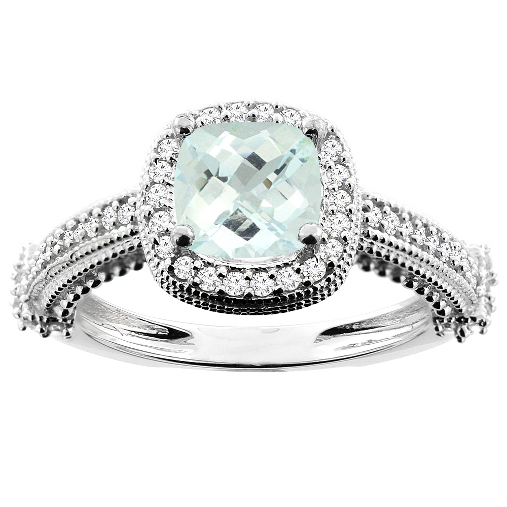 10K White Gold Natural Aquamarine Ring Cushion 7x7mm Diamond Accent, size 6.5 by Gabriella Gold