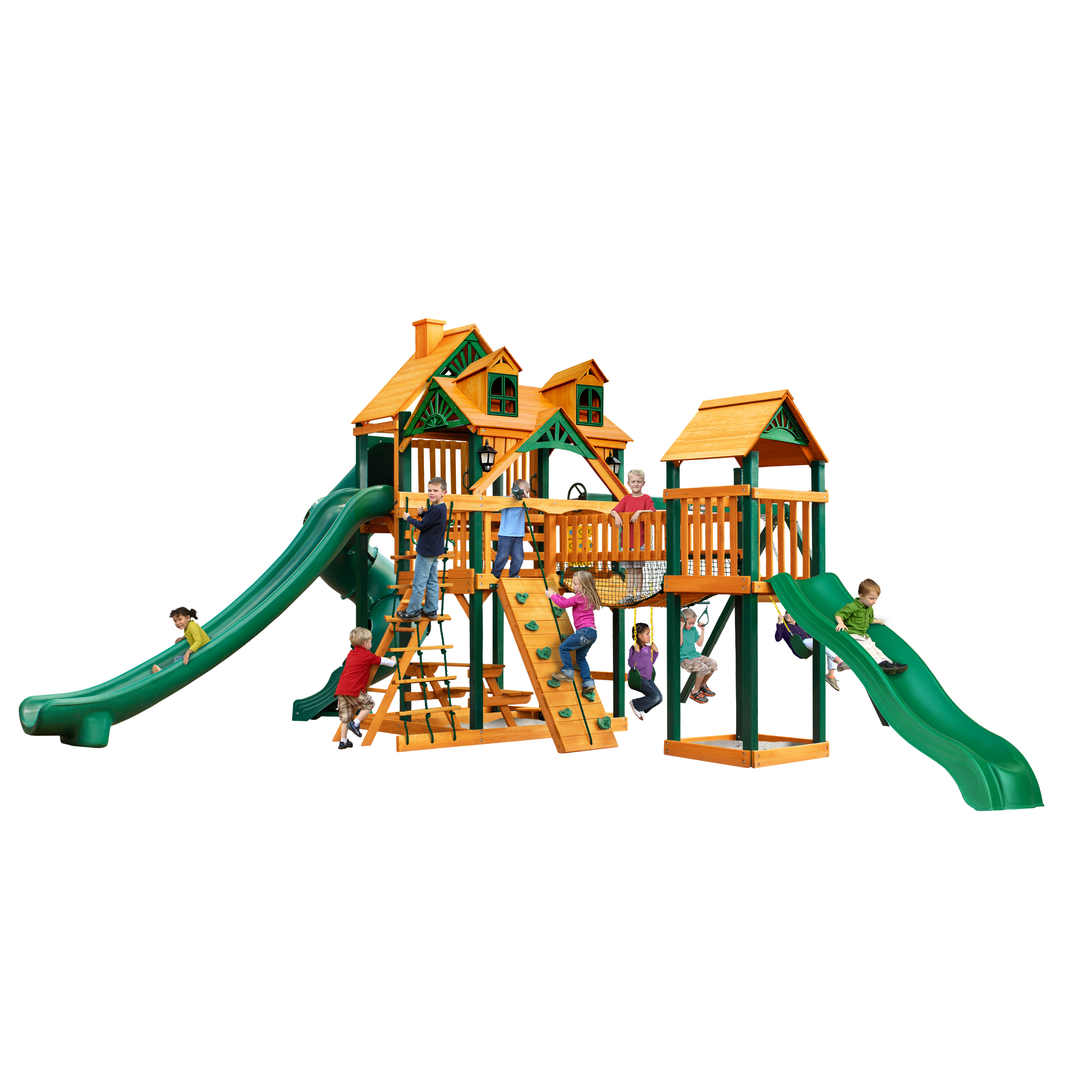 Gorilla Playsets Treasure Trove II Cedar Swing Set with Malibu Wood Roof and Timber Shield™ Posts