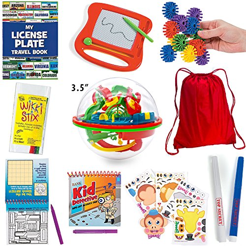 20 Pc Travel Games for Kids in Car and on Plane + Backpack; Doodle Pad, Maze Ball, License Plate Game by Mr. E=mc²