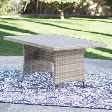 Belham Living Brookville All-Weather Wicker Rectangular Wood Top Outdoor Patio Dining Table ()