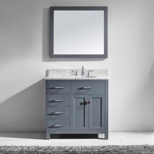 VIRTU USA  Caroline Parkway 36-inch Grey Single Bathroom Vanity Cabinet Set