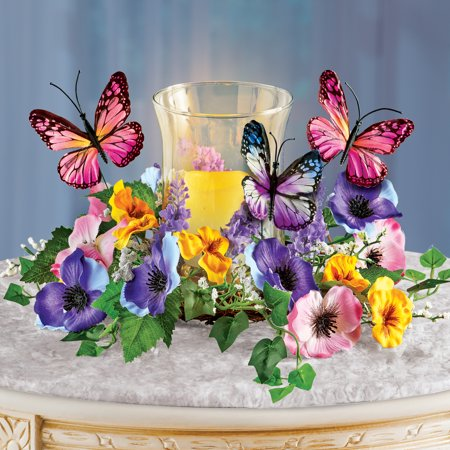 Faux Floral Candle Holder with Butterflies - Spring Tabletop Decor for Any Room in Home ()