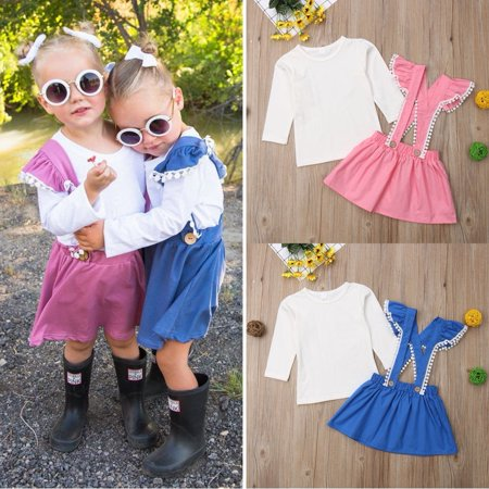 Baby Girl Kids Cotton Top T Shirt Blouse + Tutu Short Dress Skirt Outfit Clothes