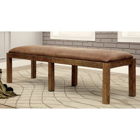 Furniture of America Matthias Rustic Pine Upholstered Dining Bench by -